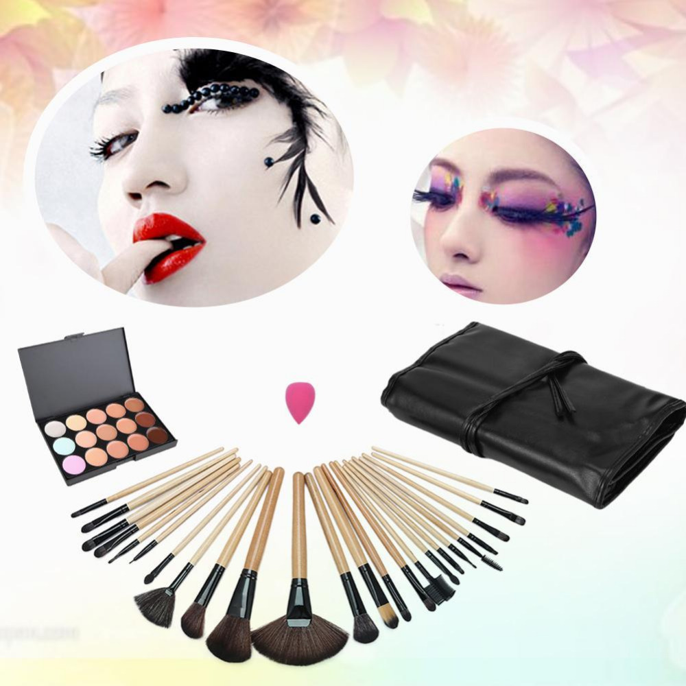 Makeup Brushes Set 24Pcs Tool Cosmetic Foundation eyeshadow powder Blush PU Leather Case wood Handle clearing toiletries 8pcs new bamboo handle brush set pro makeup brushes foundation powder blush eyeshadow blend makeup tool 88 2017 sswell
