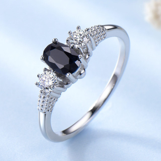 UMCHO Luxury Natural Blue Sapphire  Princess Diana Rings Genuine 925 Sterling Silver  Engagement Rings For Women Wedding Jewelry