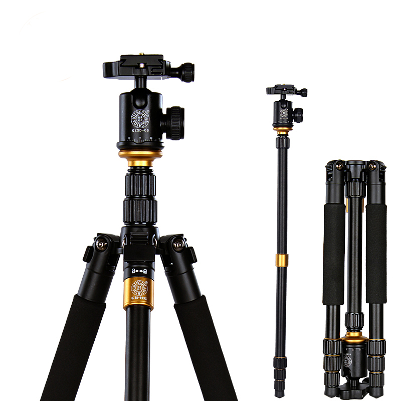 QZSD Q999S Professional Photography Portable Aluminum Ball Head+Tripod To Monopod For Canon Nikon Sony DSLR Camera ashanks professional aluminum camera tripod mini portable monopod with ball head for dslr photography video studio load 10kg
