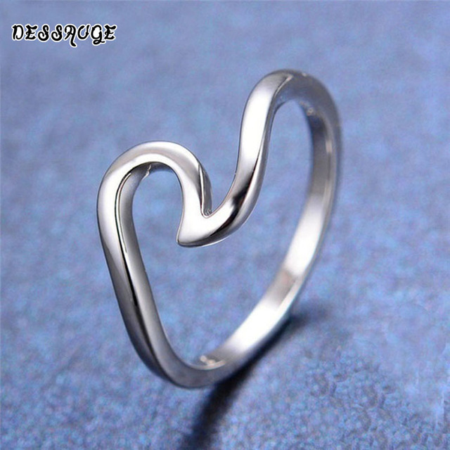 DESSAUGE Simple Wave Ring For Women Rings Rose Gold And Silver zinc alloy Ocean