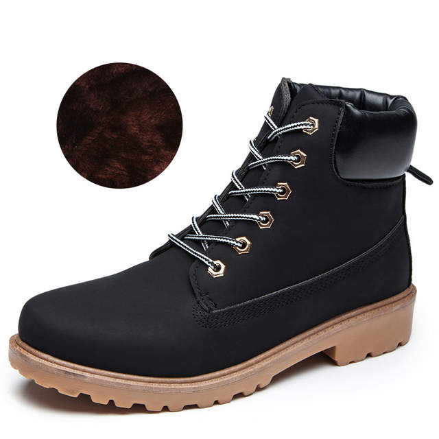 b6a123f85c12 Female Work Boots Winter Plush Women Snow Boots Waterproof Plus Size Round  Toe Martin Ankle Boots