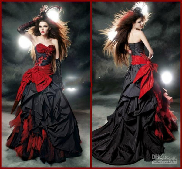 Black And Red Gothic Wedding Dresses 2016 Vintage Sweetheart Ruffle Taffeta and Tulle Floor Length Big Bow Sexy Corset Bridal