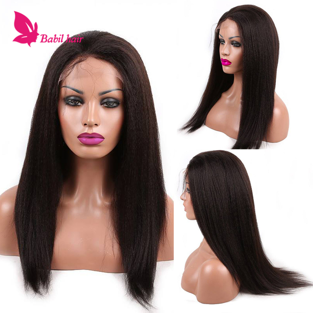 Glueless Kinky Straight Full Lace Wig Brazilian Human Hair Kinky Straight Wig Remy Kinky Straight Lace Front Wig For Black Women