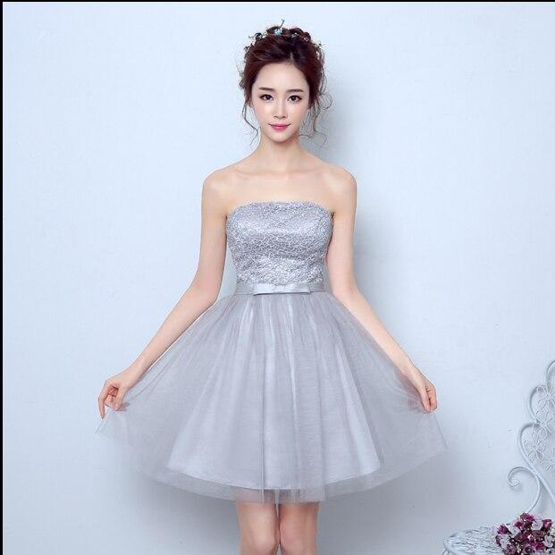 Wedding Hairstyles Junior Bridesmaids: Strapless Modest Light Gray Bridesmaid Junior Bridesmade