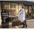 Осень и зима шерстяная ткань Пальто Колледж ветер Свободные пальто студентка Средней Длины женщина термин