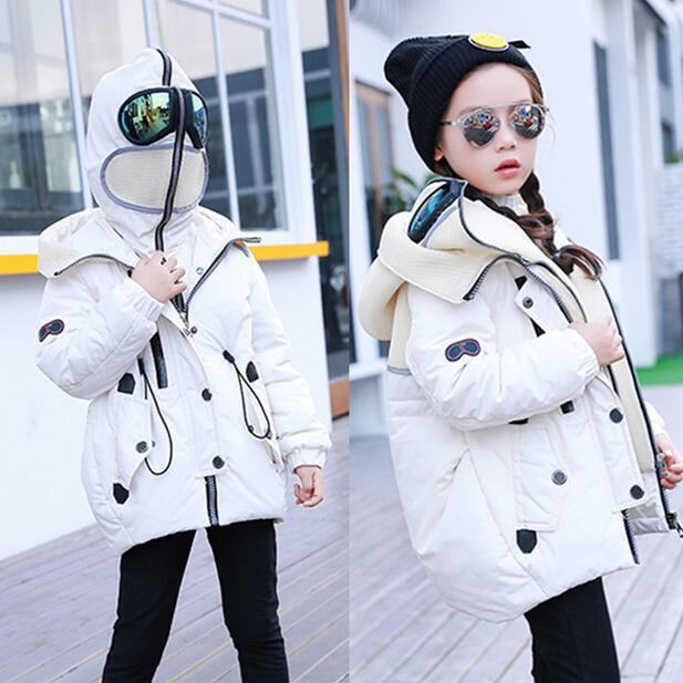 Jacket Kids Winter Coats Hooded Glassses Cool Down Jacket Alien Long Boys Girls Coats Kids Puffer Jacket