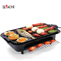 LSTACHi Double Layers Smokeless Electric Pan Grill BBQ Octopus Ball Griddle Barbecue Raclette Mini Non stick Plate Machine