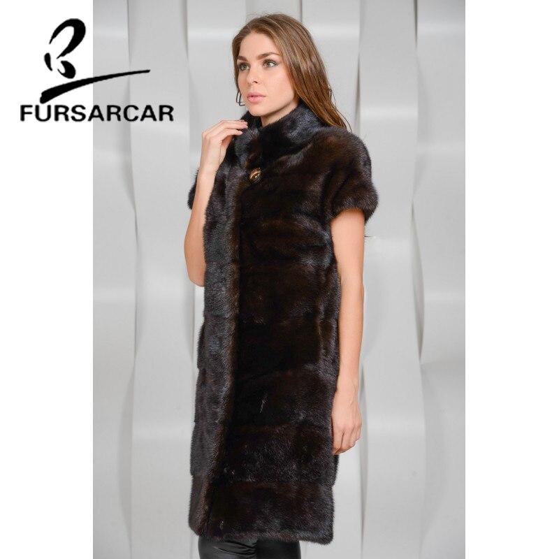 Réel Coffee Vison Avec De Style Long D'hiver Dark Gilet Luxe Femmes Fourrure Mince Col Mode Fursarcar Nouvelle an5xvIqAR