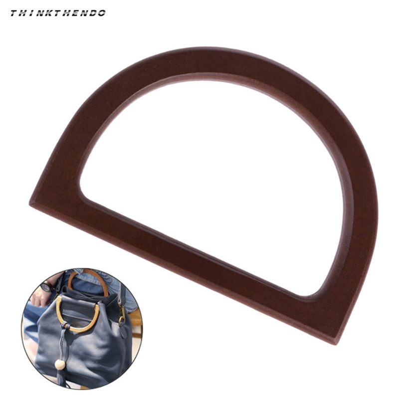 THINKTHENDO New 1 Pc Wooden Handle Replacement DIY Handbag Purse Frame Bag Accessories High Quality