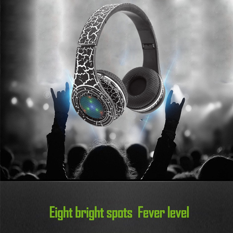 Bluetooth V4.2 Headphone Wireless Crack Pattern Noise Cancelling Glowing Stereo Sport Headset HandsFree For Mobile Phone PC New