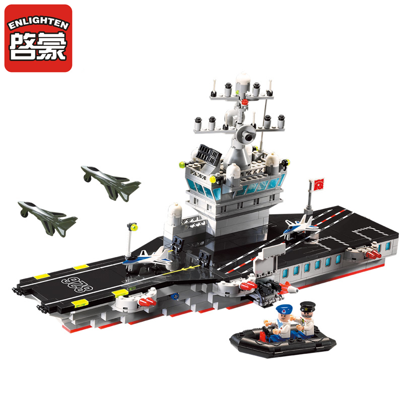 Enlighten 508Pcs Military Series Aircraft carrier Building Blocks set Bricks 3D Construction Toys for children enlighten building blocks navy frigate ship assembling building blocks military series blocks girls