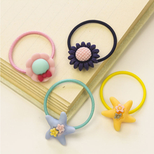10PCS latest childrens hair accessories rubber band rabbit bow starfish head rope cartoon baby does not hurt b