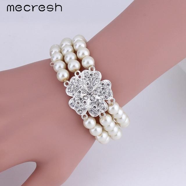 3pcs/set Perfect Imitated Pearl Wedding Jewellery Bracelet, Earrings & Necklace