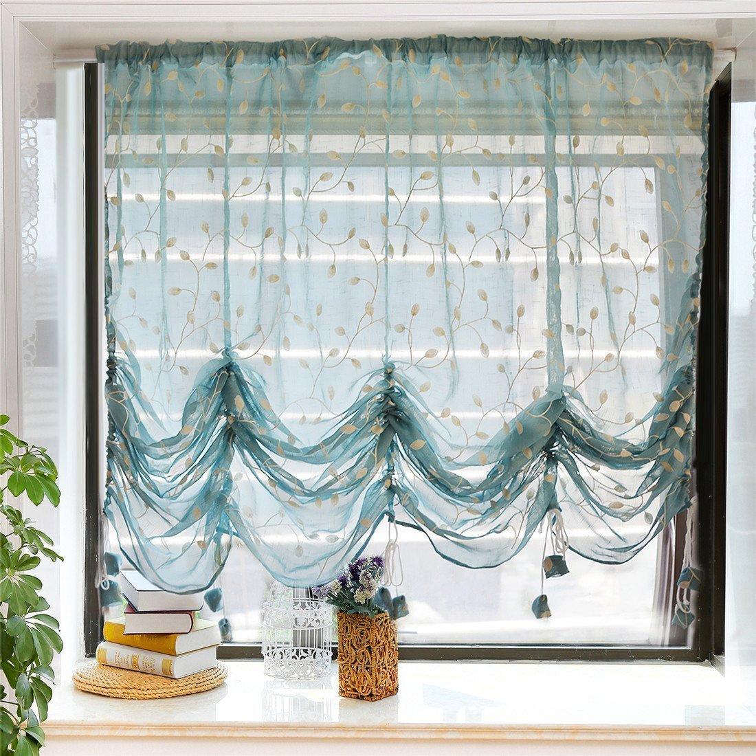 WINLIFE rideau romain réglable rideau ballon rideau transparent brodé