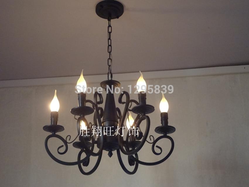 Wrought iron candle chandelier lamp Mediterranean restaurant American Pastoral special lighting lamps bedroom lamps lighting fre american wrought iron landing flower