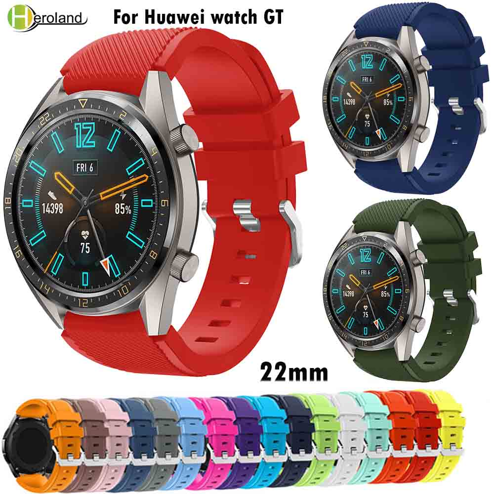 22MM Silicone Watch Band For Huawei Watch GT Sport Replacement WatchBands For Samsung Gear S3 Galaxy Watch 46mm Smartwatch Strap