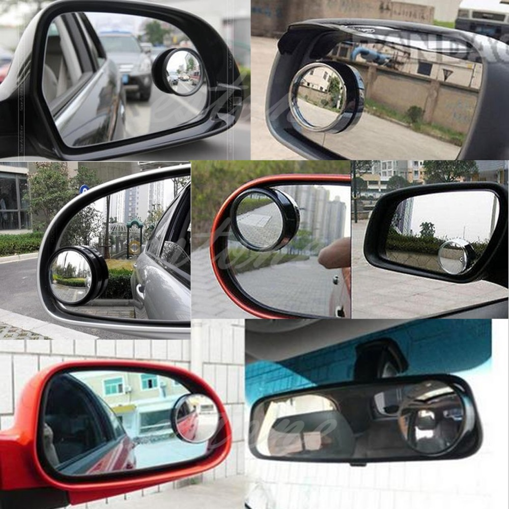 NEW Round Wide Angle Convex Blind Spot Mirror Rear View Messaging Car Vehicle Black
