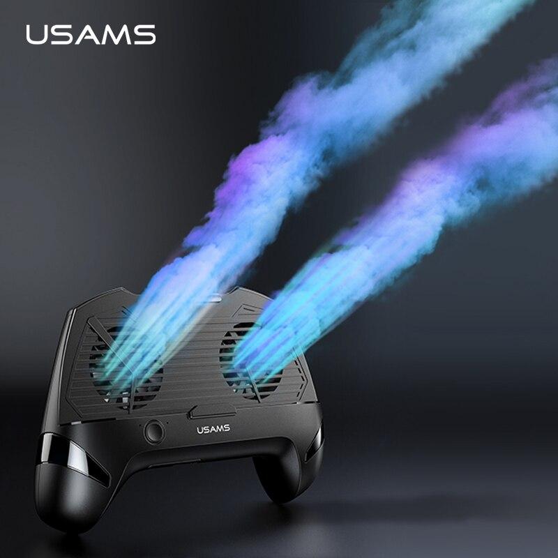 USAMS teléfono móvil juego de manejar titular del teléfono Dual Fans juego disipador de calor de carga banco de potencia de reducción de ruido de juego Pad