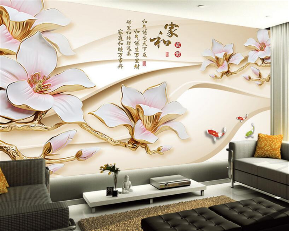Beibehang 3D Wallpaper Modern High-grade Sculpture Magnolia House and Fortune TV Backdrop murals photo wallpaper for walls 3 d beibehang high grade large scale murals chinese classical seal calligraphy and painting wallpaper hotel tv sofa backdrop