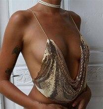 sequins bikini bra chain maxi collier sautoir long pendant necklace women body harness jewelry