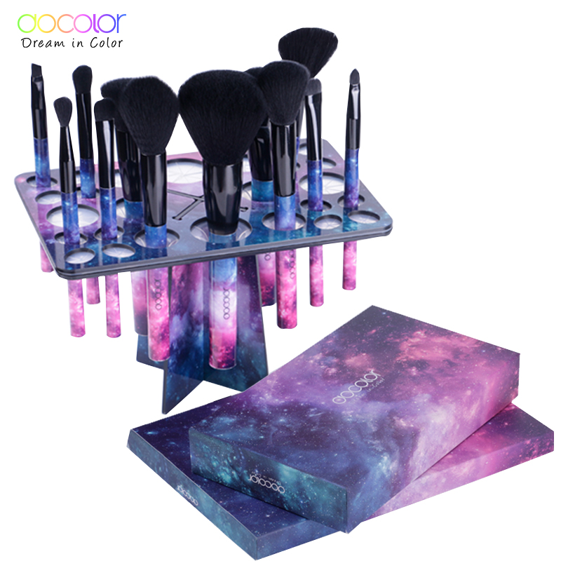 Docolor 12pcs Professional Makeup brushes with 1pcs Brush Holder together High Quality Synthetic Hair Brush Set brush organizer цена
