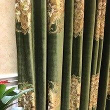 Luxuriöse Stickerei Samt Euro Tiefe Grün Draperie Vorhang Panels Tuch Polster Stoff 280 cm Breit Schiene roaded Verkauf durch wiederholen