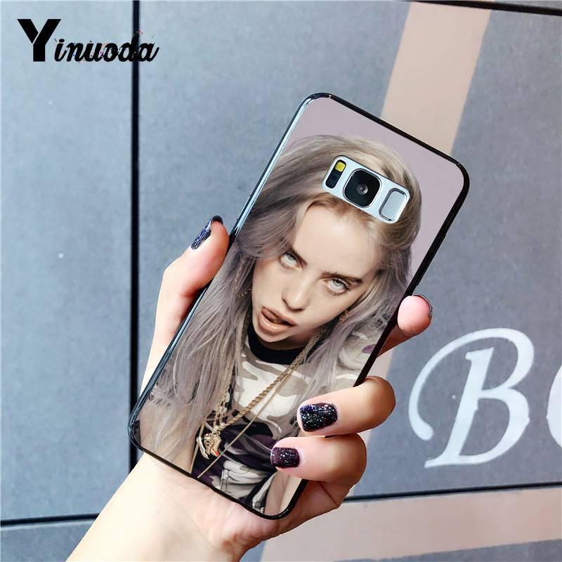 Yinuoda Billie Eilish Hot Music Singer Star Black Phone Case for Samsung Galaxy S9 plus S7 edge S6 edge plus S5 S8 plus case