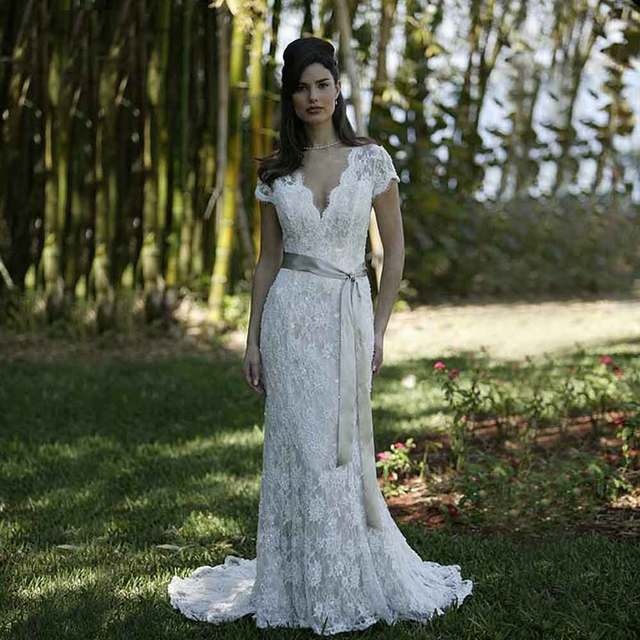 0919bdbfd Romántico Vestido de noiva sereia renda Escote V Vestido de Novia de Encaje  de marfil de
