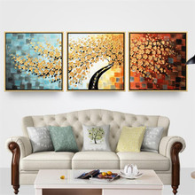 hand painted gold tree modular painting golden leaf oil on canvas thick textured landscape wall art Triptych picture