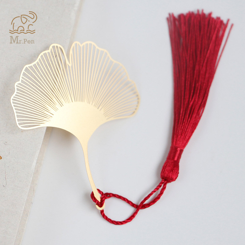 Golden Hollow Ginkgo Biloba Metal Bookmark With Tassel Stationery Book Clip Office Accessories School Supplies Teacher Gifts