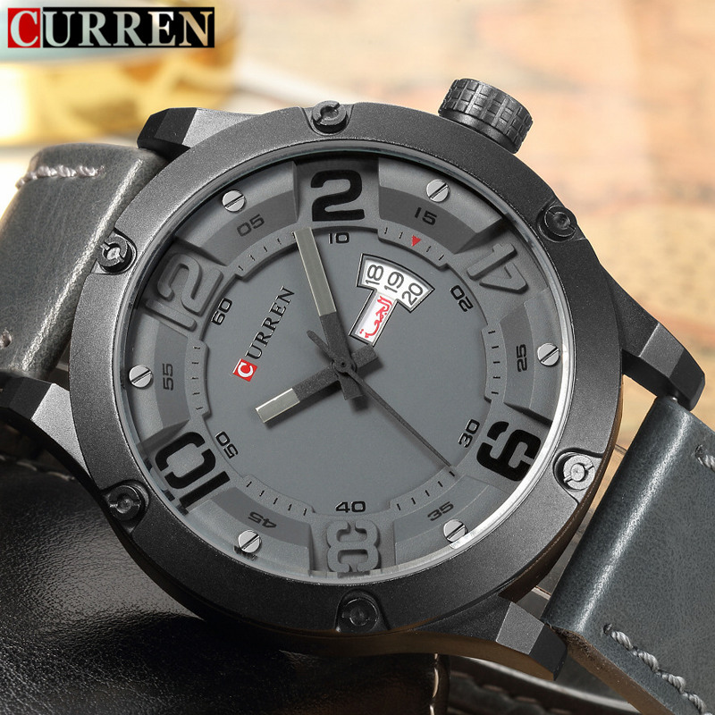 Relogio Masculino Curren Watch Men Brand Luxury Quartz Watches Casual Sport Male Clock Leather Strap Fashion Mens Wristwatches watches men luxury sbao brand silicone strap men sport waterpoof wristwatches clock male quartz 7 colors watch relogio masculino