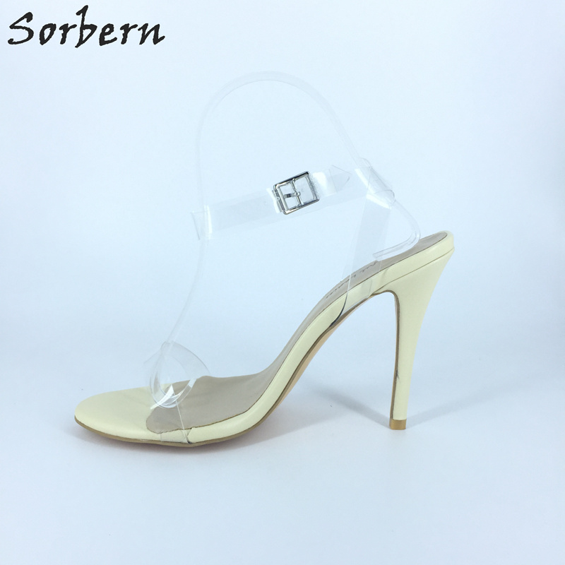 Sorbern Kim Kardashian Clear Pvc Summer Shoes For Women Sandal High Heels 6Cm/9Cm/12Cm Ankle Strap Heels Large Size 34-46 kim kardashian s marriage