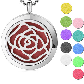 Silver Jewelry  Round ROSE Flower  Aromatherapy Oils Stainless Steel Pendant  Perfume Diffuser Locket Necklace