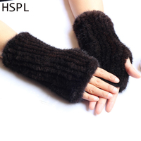 HSPL Winter Women Glove 2017 Real Knitted Mink Fur Knit Arm Warmers Wristbands Ladies Women Fashion Arm Sleeve for women