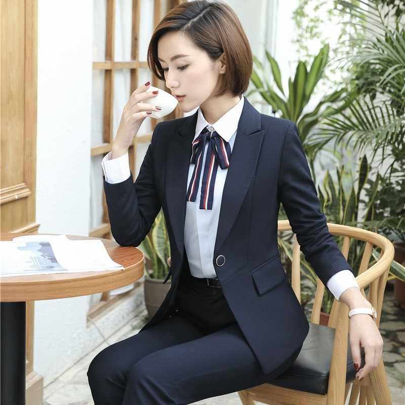 Formal ol estilos azul escuro blazer mulher ternos de negócios com calças e jaqueta define senhoras trabalho wear escritório uniforme projetos