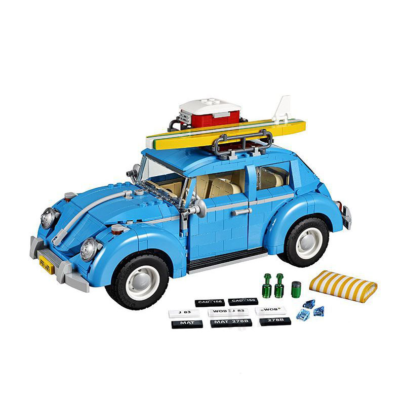 StZhou LEPIN Series City Car Volkswagen Beetle model Building Blocks Compatible Blue Technic Car Toy Educational Gifts lepin 21003 series city car beetle model building blocks blue technic children lepins toys gift clone 10252