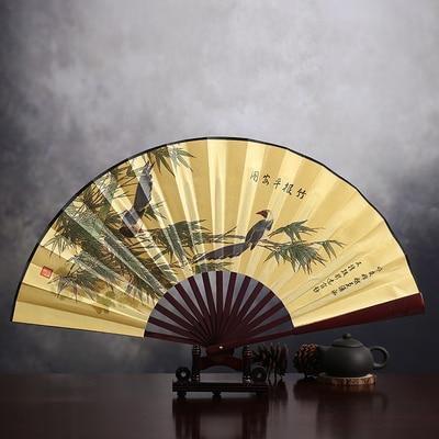 """1"""" украшенный Шелковый складной Ручной Веер человек большой бамбуковый китайский Печатный веер из ткани традиционное ремесло свадебные сувениры веер - Цвет: bamboo birds"""