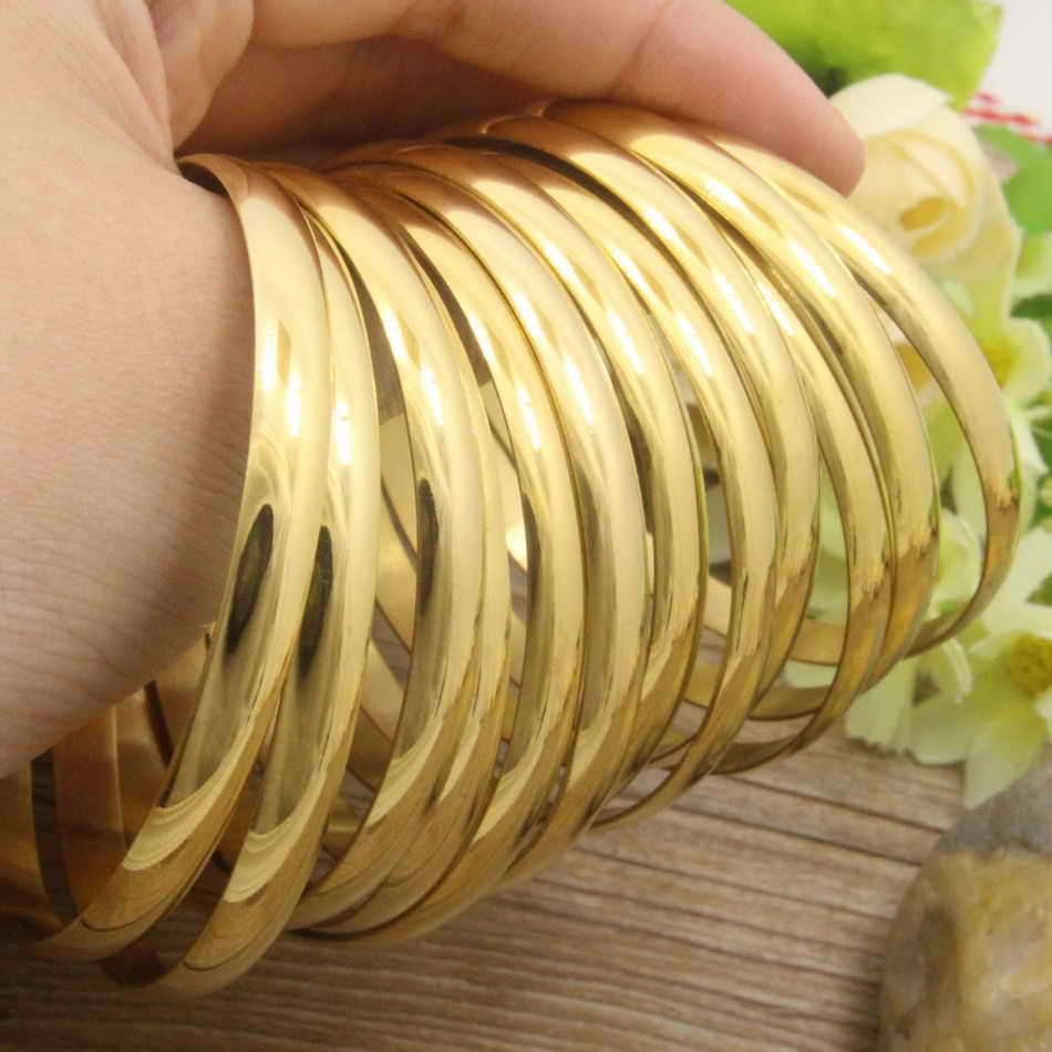 Hot New Stainless Steel Jewelry plated gold color 71mm and 59mm Bangles for girl and women