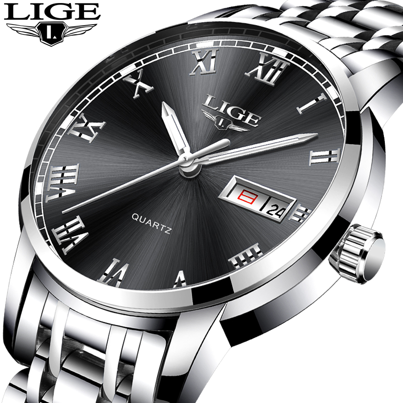 LIGE Top Luxury Brand Men Sports Watch Male Casual Full steel Date Wristwatches Men's Quartz watches relogio masculino