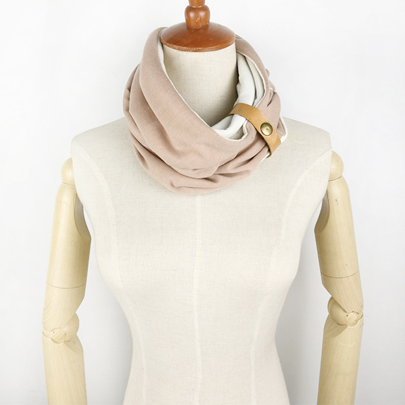 Two Colors Button Ring Scarf | Neck Scarves