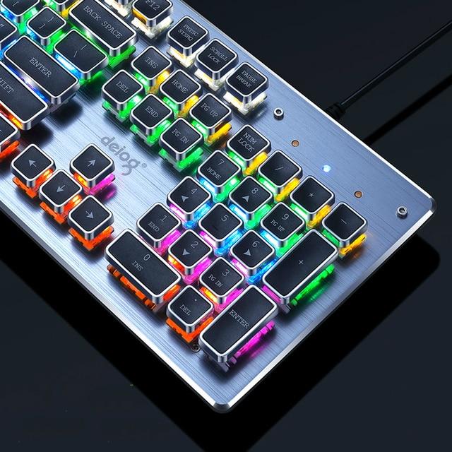 Gaming Mechanical Keyboard USB Wired Anti-ghosting Metal Panel Colorful Backlight Keyboard Crystal Plating Keys Russian Sticker 2