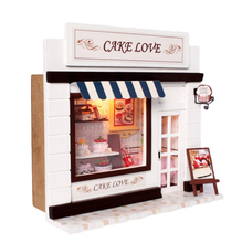 цена на Doll House Miniature Model Building Kits 3D Handmade Wooden Dollhouse Birstday Gift European Stores-Cake Love