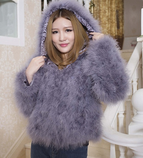 Free Shipping genuine ostrich coat with hat Women Ostrich Fur jacket waistcoats customized big size