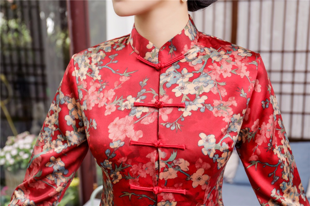 Shanghai Story Floral Cheongsam Shirt  Qipao Top 3/4 Sleeve Chinese Traditional Top Chinese Blouse For Women