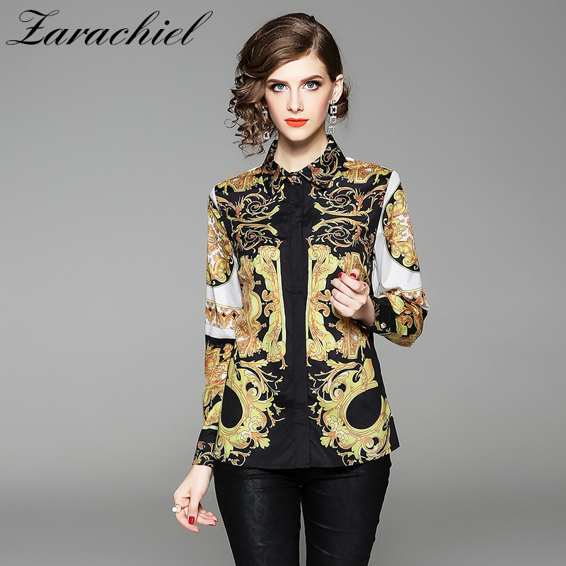 New 2019 Autumn Womens Tops And Blouses Long Sleeve Baroque Pattern Print Chiffon Blouse OL Work Wear Blusas Ladies Office Shirt