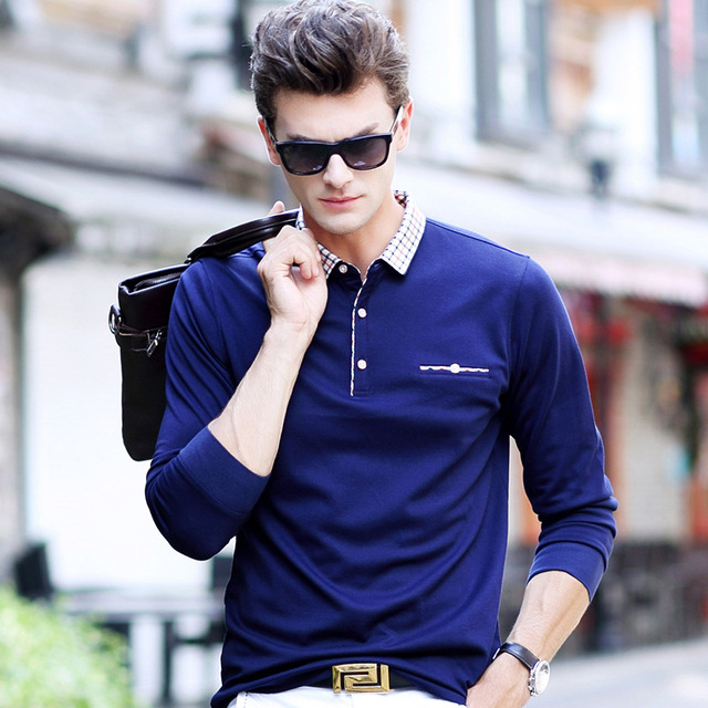 High Quality 2017 Spring Autumn Men's Polo Shirt Busines Casual Solid Polo shirt Brand Men's Long Sleeve Polo Camisa Plus Size