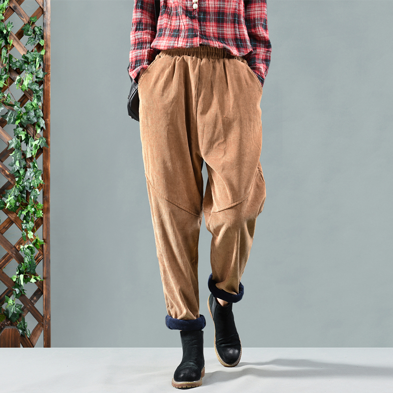 high quality new Women's winter corduroy pants plus velvet elastic casual pants Elastic waist corduroy pants Women's trousers