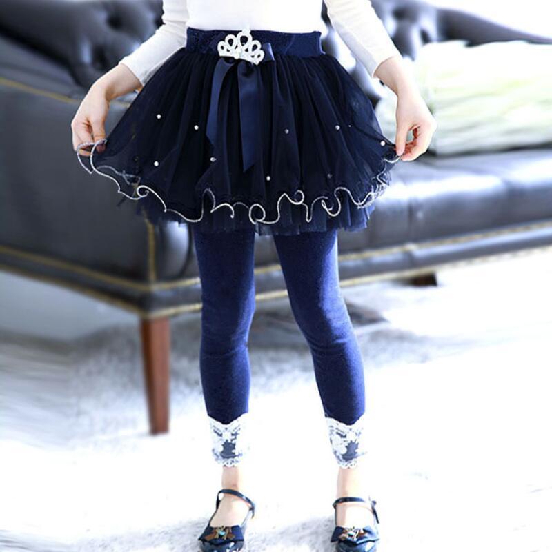Neue Mode 2018 Mädchen Leggings Bowknot Perlen Krone Spitze Kinder Hosen Kinder Elastischer Baumwolle Legging Mädchen Hosen Tutu Rock Hosen Jw3257