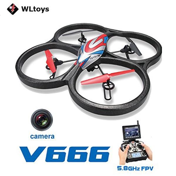 WLtoys V666 4-CH 360 Flips 2.4GHz Radio Control RC Quadcopter with 6-Axis Gyro 720P Camera FPV Monitor RTF skytech m62r 4 ch 360 flips 2 4ghz radio control rc quadcopter drone with 6 axis gyro hd fpv camera helicopter rtf