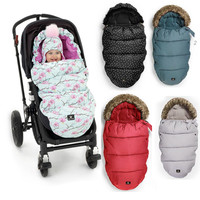 2016 Limited Autumn Winter Baby Anti Thermal Windproof Stroller Sleeping Bag Baby Footmuff With Fake Fur